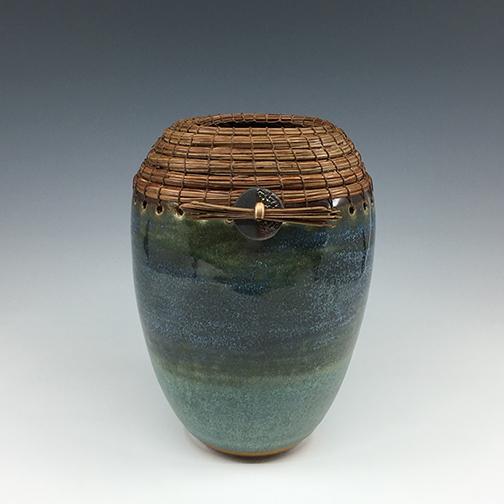 Green vase with Raku button