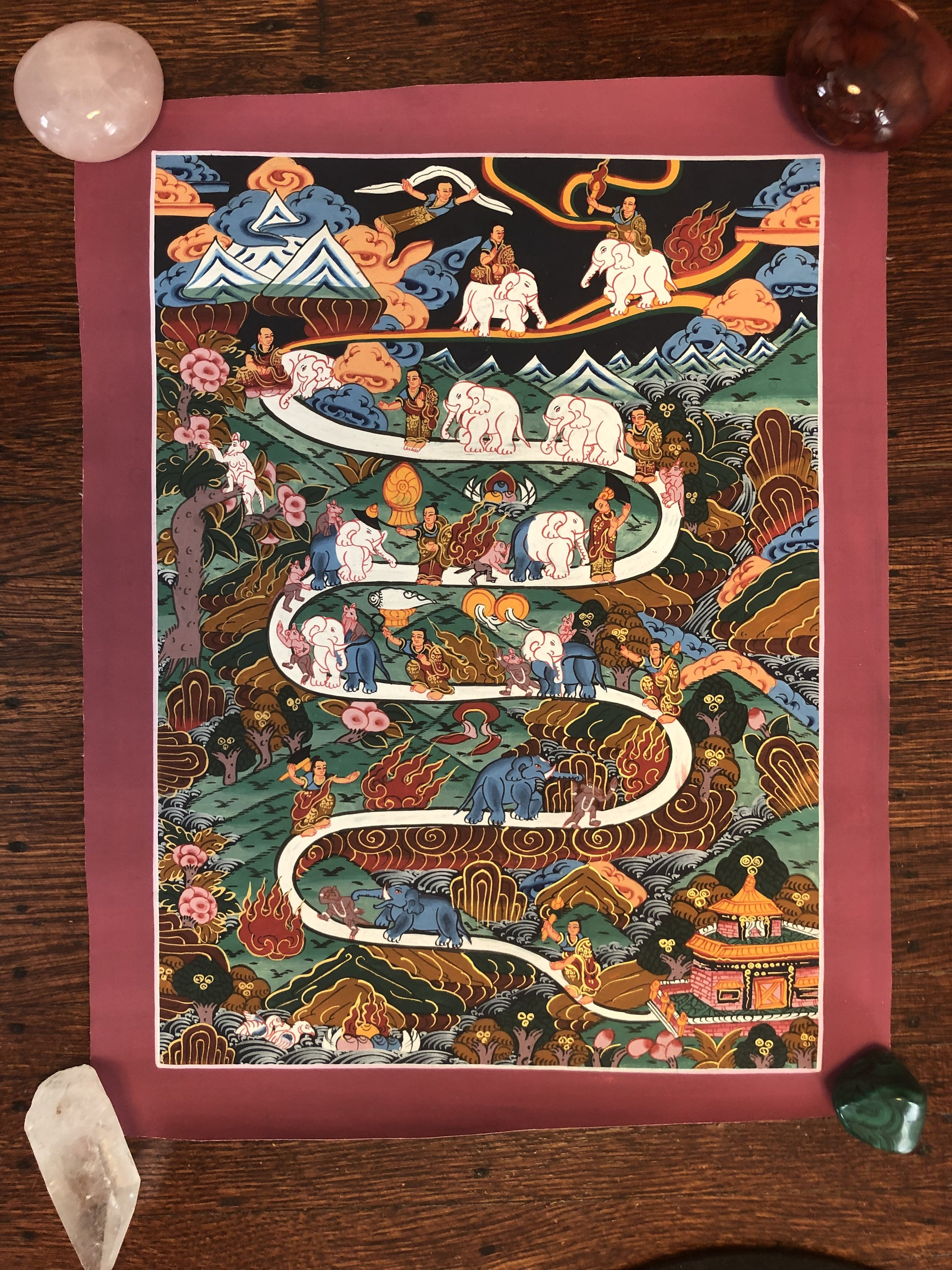 """Elephant Path"" Thangka - Hand painted in Nepal"