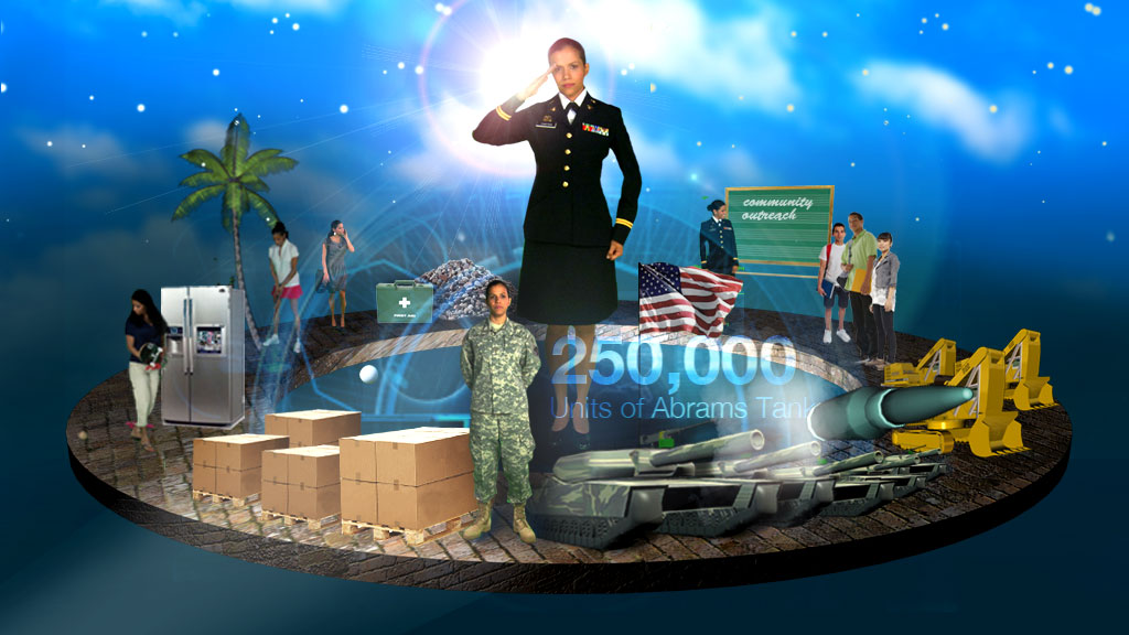 This is one of the screens from the A/R, featuring the story of 1st Lt. Tania Sang. Viewers could navigate all the way around the page, highlighting different features and driving the story, while Tania explained all the different things she does and benefits she gets out of being in the Guard.