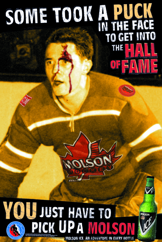 Russ Gillow - who played two years of minor league hockey back in the 50s - became our icon for the kind of real dedication Molson believed in. We found him and got him to sign the release about 6 hours before we went on press...