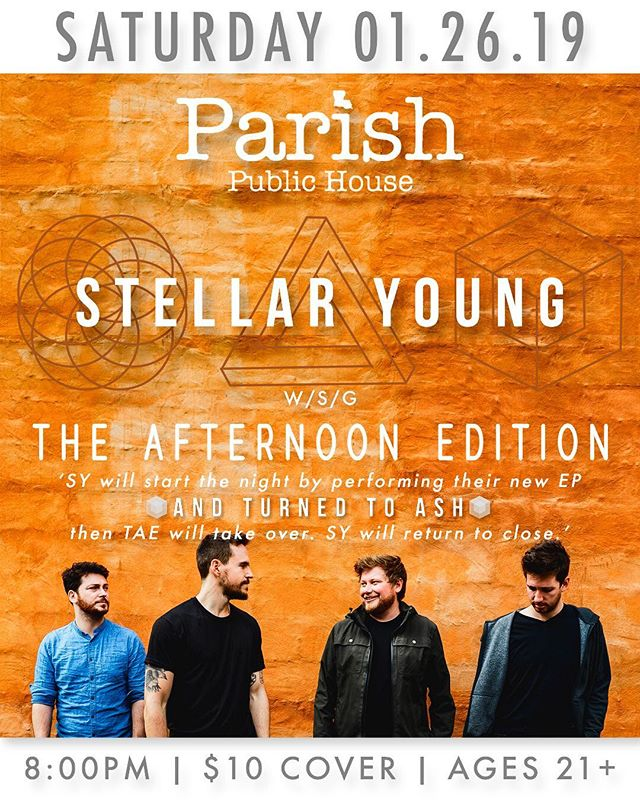 𝗦𝗛𝗢𝗪 𝗔𝗡𝗡𝗢𝗨𝗡𝗖𝗘𝗠𝗘𝗡𝗧: We're beyond excited to be returning to our home away from home - Albany, NY! On Saturday, January 26th, we'll have the honor of helping @stellaryoung celebrate the release of their upcoming EP - 𝘈𝘕𝘋 𝘛𝘜𝘙𝘕𝘌𝘋 𝘛𝘖 𝘈𝘚𝘏 - at Parish Public House in Albany. We'll also be performing a handful of new tunes for the first time off of our forthcoming release - you won't want to miss it! • Showtime at 8pm | $10 at the door | 21+ • @parishpublichouse_ #theafternoonedition #livemusic #albany #stellaryoung