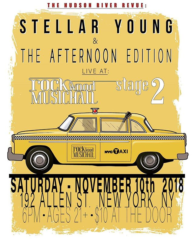 Saved the best for last...New York City! Super excited to be playing @rockwoodmusichall tonight for the grand finale of our 3-night run of shows. We'll be taking the stage at 6pm sharp with our buds @stellaryoung to follow. Stage 2 • 21+ • $10 at the door. See you soon, NYC! • #theafternoonedition #stellaryoung #nyc #livemusic #rockwoodmusichall