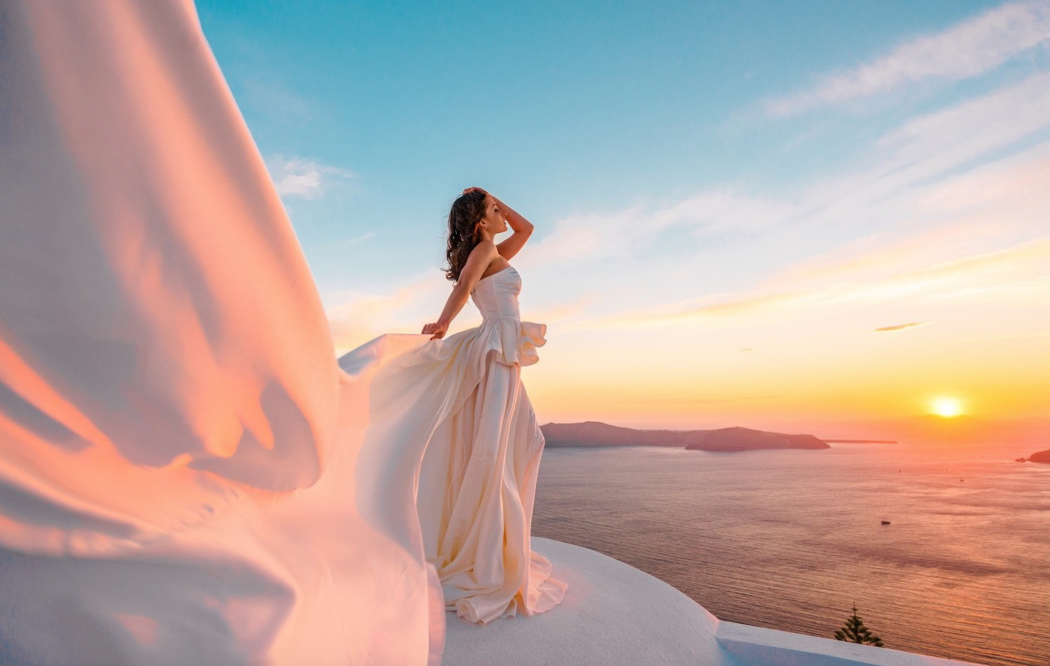 Santorini Flying Dress Photo Shoot