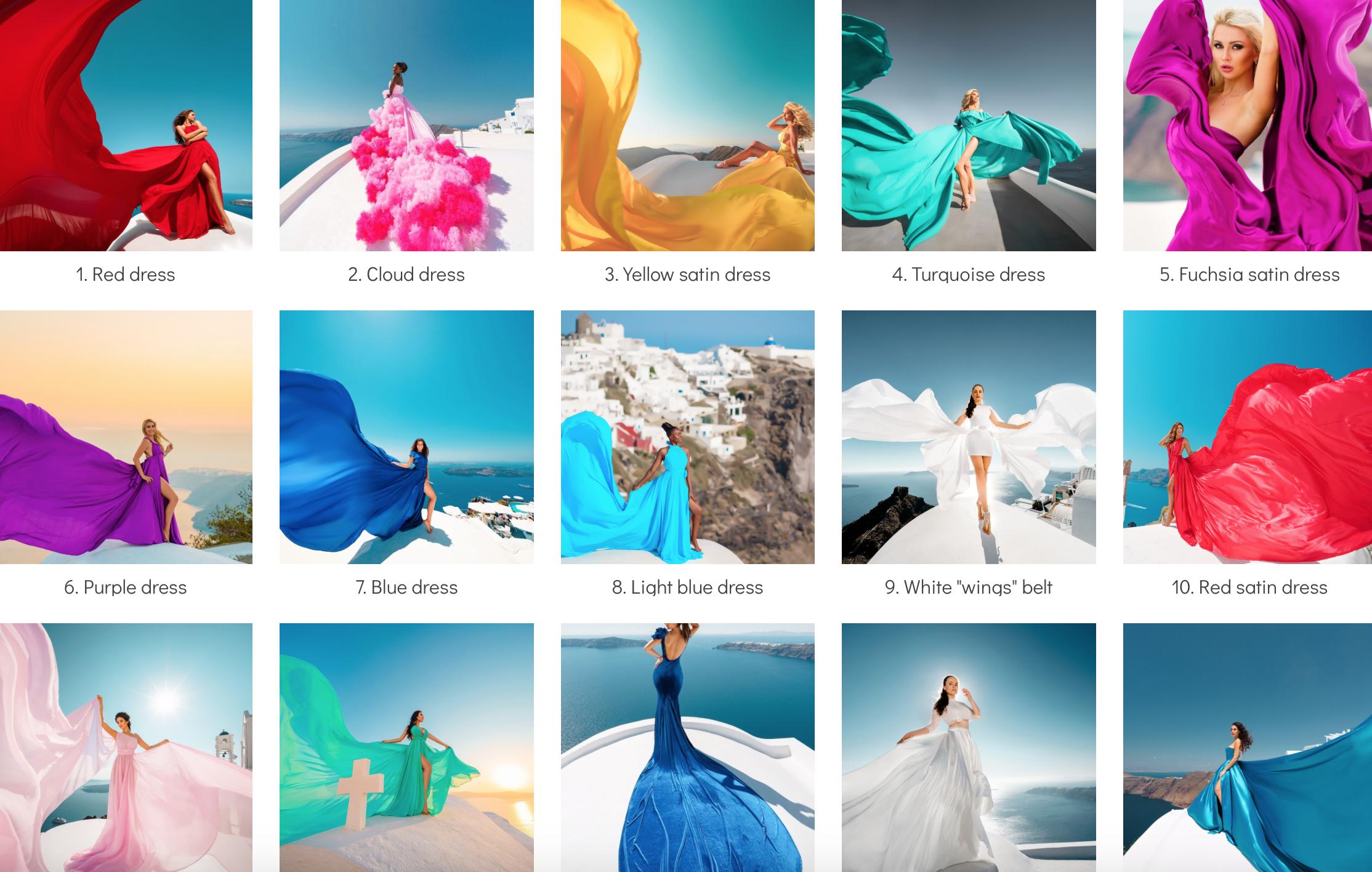 Santorini Flying Dress Photoshoot!