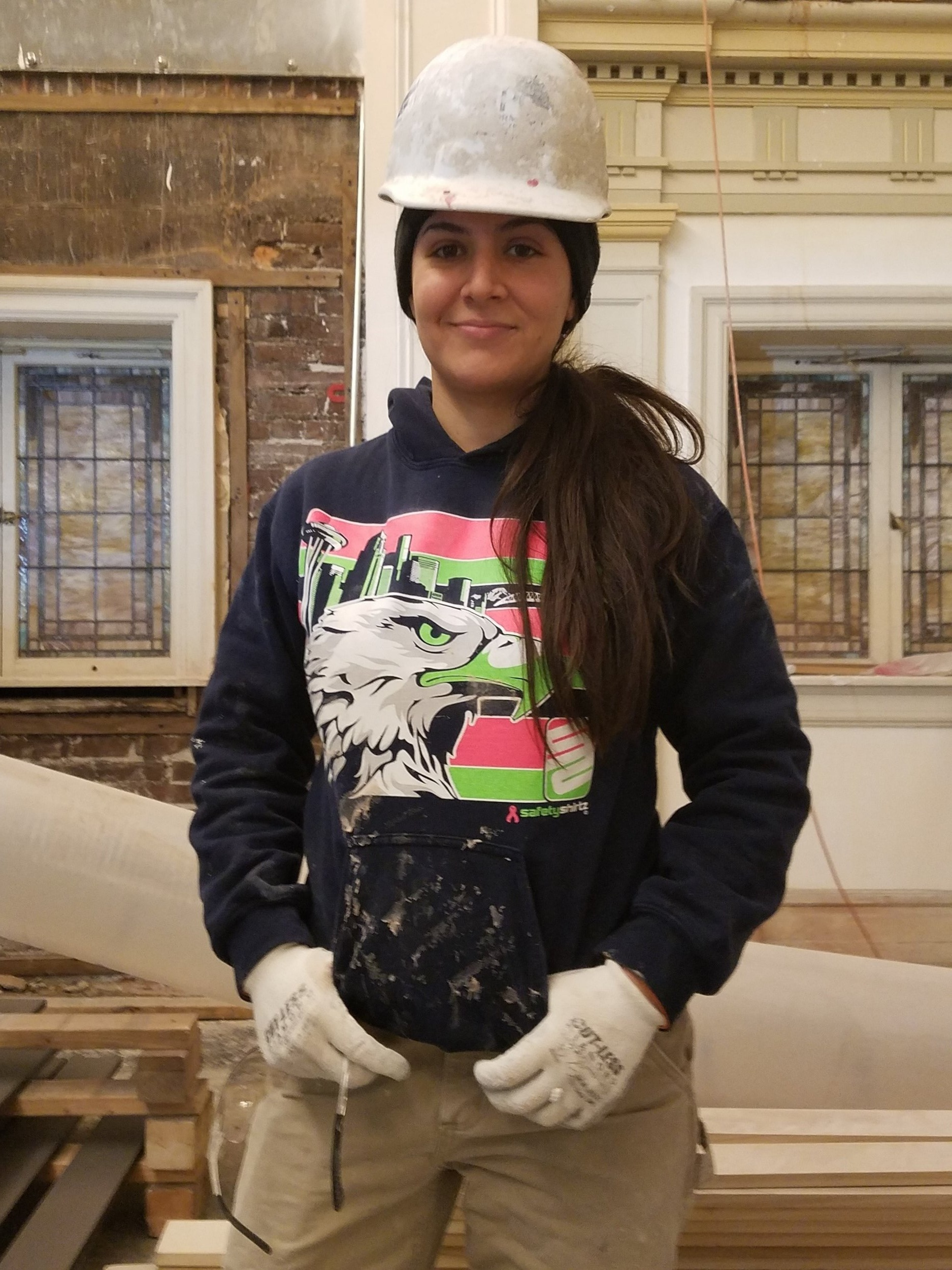ROXANA OROZCO -PLASTERER - Roxana Orozco has been a Local 528 Plasterer since September, 2012. She was working as a server at Olive Garden and decided she wanted a job that offered variety, working outdoors and working with her hands. The waiting list for the Carpenters was too long, so she looked to the Cement Masons. Frank Benish directed her to the Plasterers for better job opportunities at the time. She loves the ornate aspects of being a Plasterer and has become very well rounded working at PCI. She worked on the King Street Station, the Space Needle and is currently working on the retrofit of the Seattle Town hall building.Roxana loves working out, backpacking, cooking and she is an avid reader.She has recently become engaged and will be getting married this August. Roxana and her fiance are looking forward to starting a family.