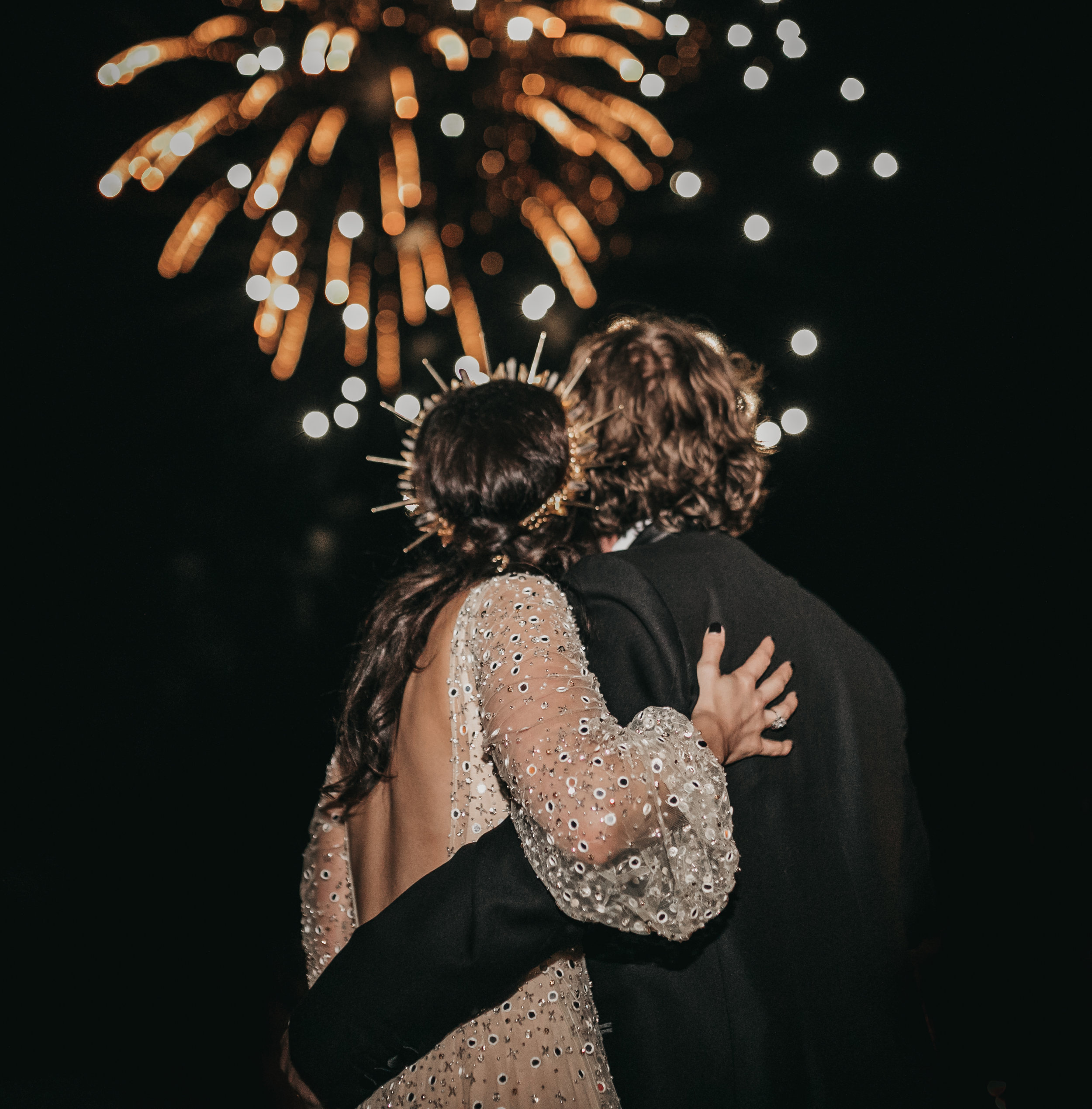 couple fireworks wedding