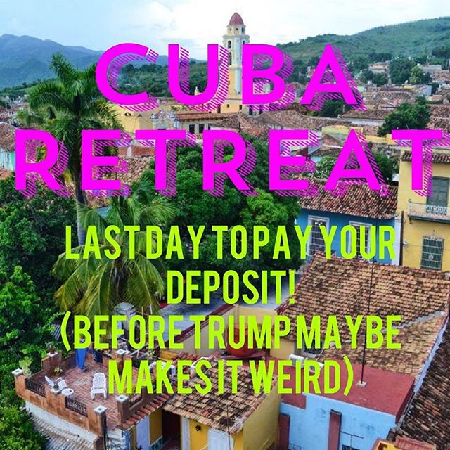 GUYS!! TODAYS THE DAY! If you are even considering coming to Cuba with Ranier in August you need to make a provision deposit TODAY bc Trump May change the regulations TOMORROW and only travel plans that are already in motion will be allowed to happen.  BARRE+BOXING+DANCING+CUBA ⭐️August 6-11th 2019⭐️ Whaaaat!?! Let's do this. 😍🤩😍 Click the PAYMENTS link here:  https://yogaadventuresworldwide.com/retreat/power_yoga_barre_boxing/ LETS GO!!! @yogaandadventuresworldwide