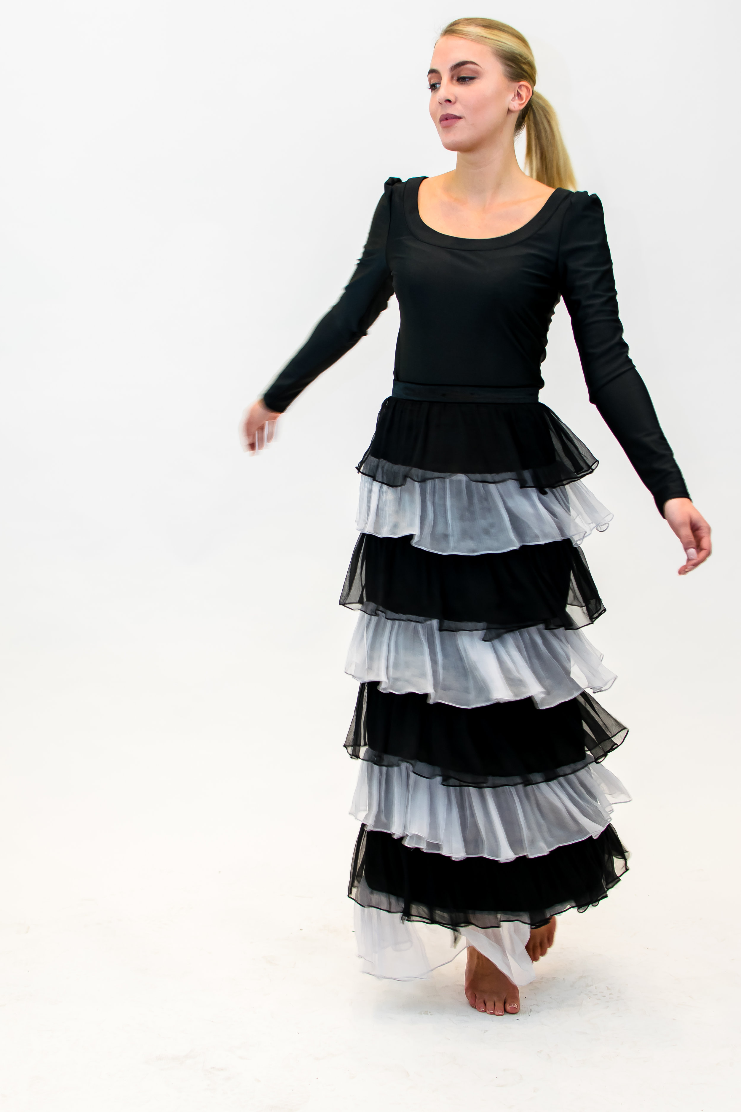 Top with velvet trim & long skirt with frills