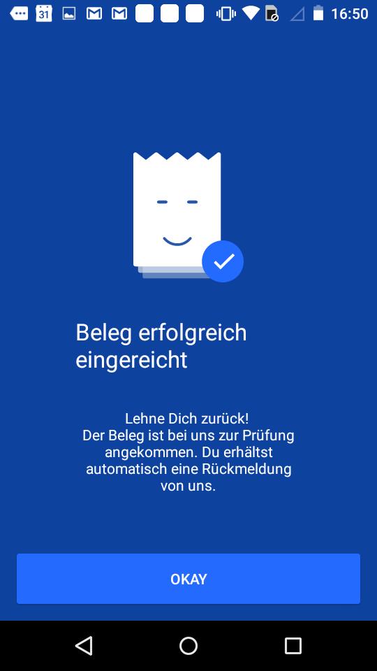 Riso App Screenshot Beleg Upload Schritt 3 Bestätigung Android