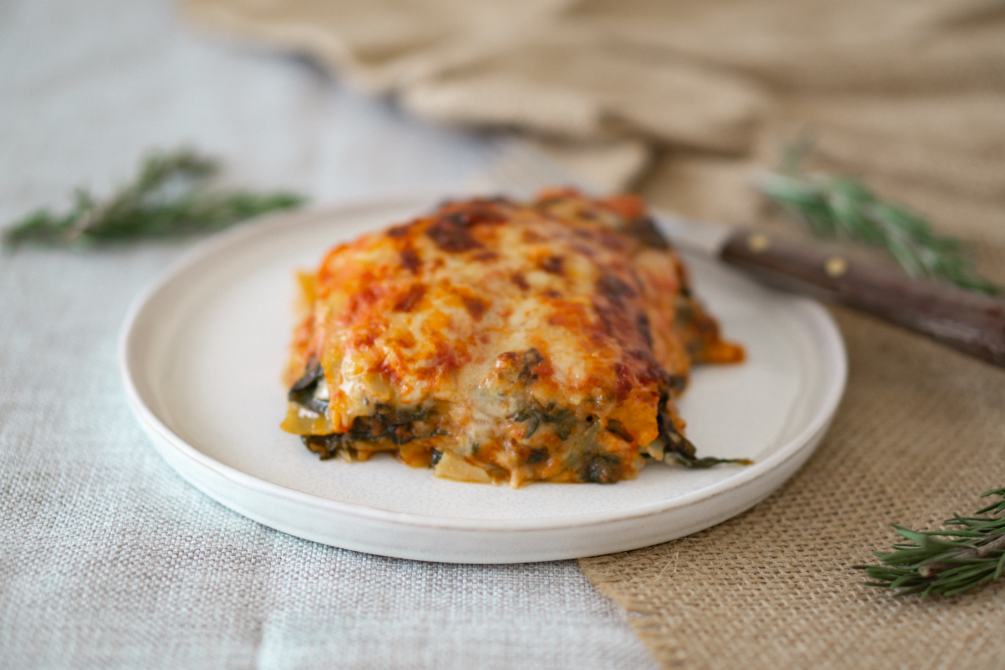 Vegetarian Lasagna with Pumpkin, Zucchini & Spinach