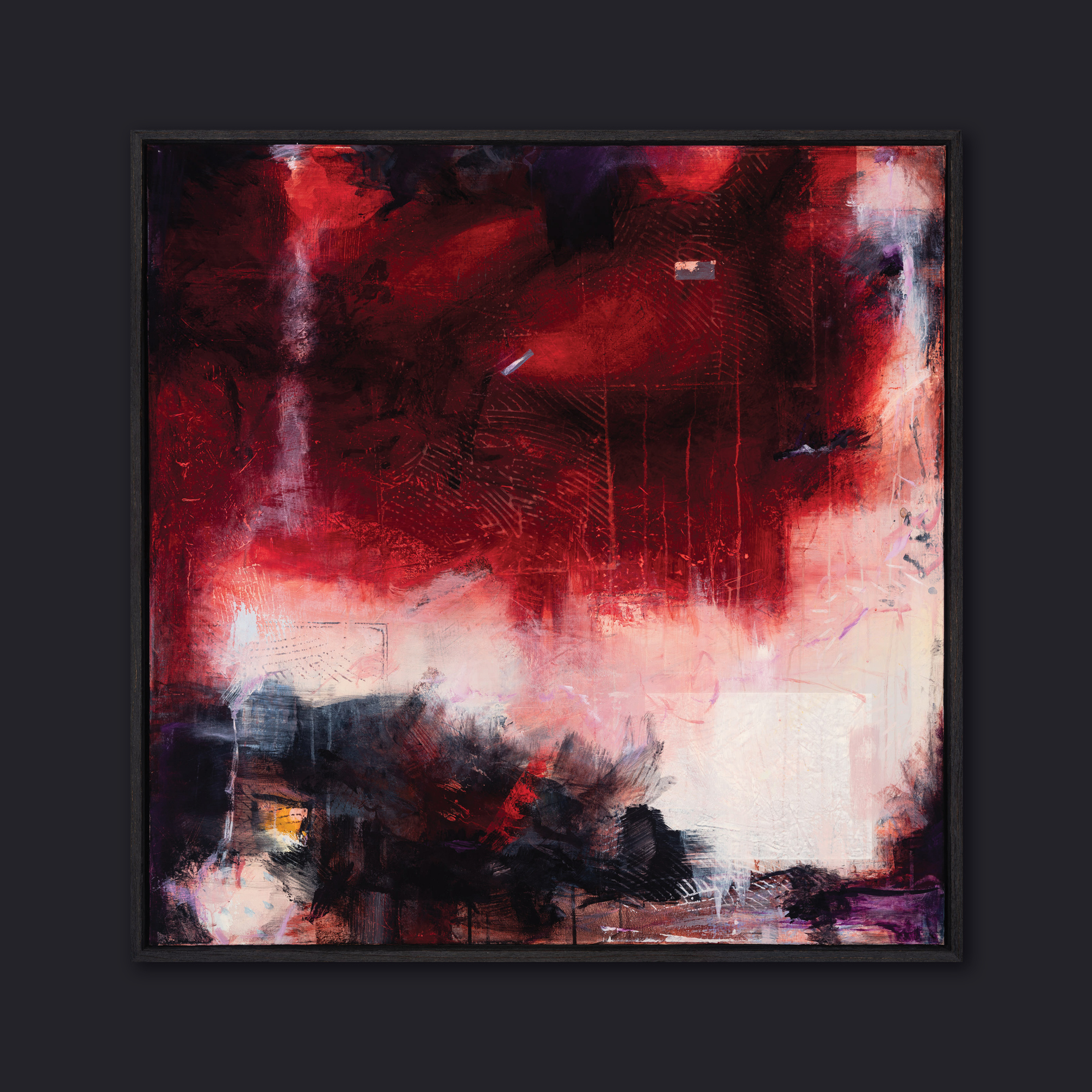 W101 x H101cm image size | acrylic mixed media on canvas in open grain, charcoal floating frame