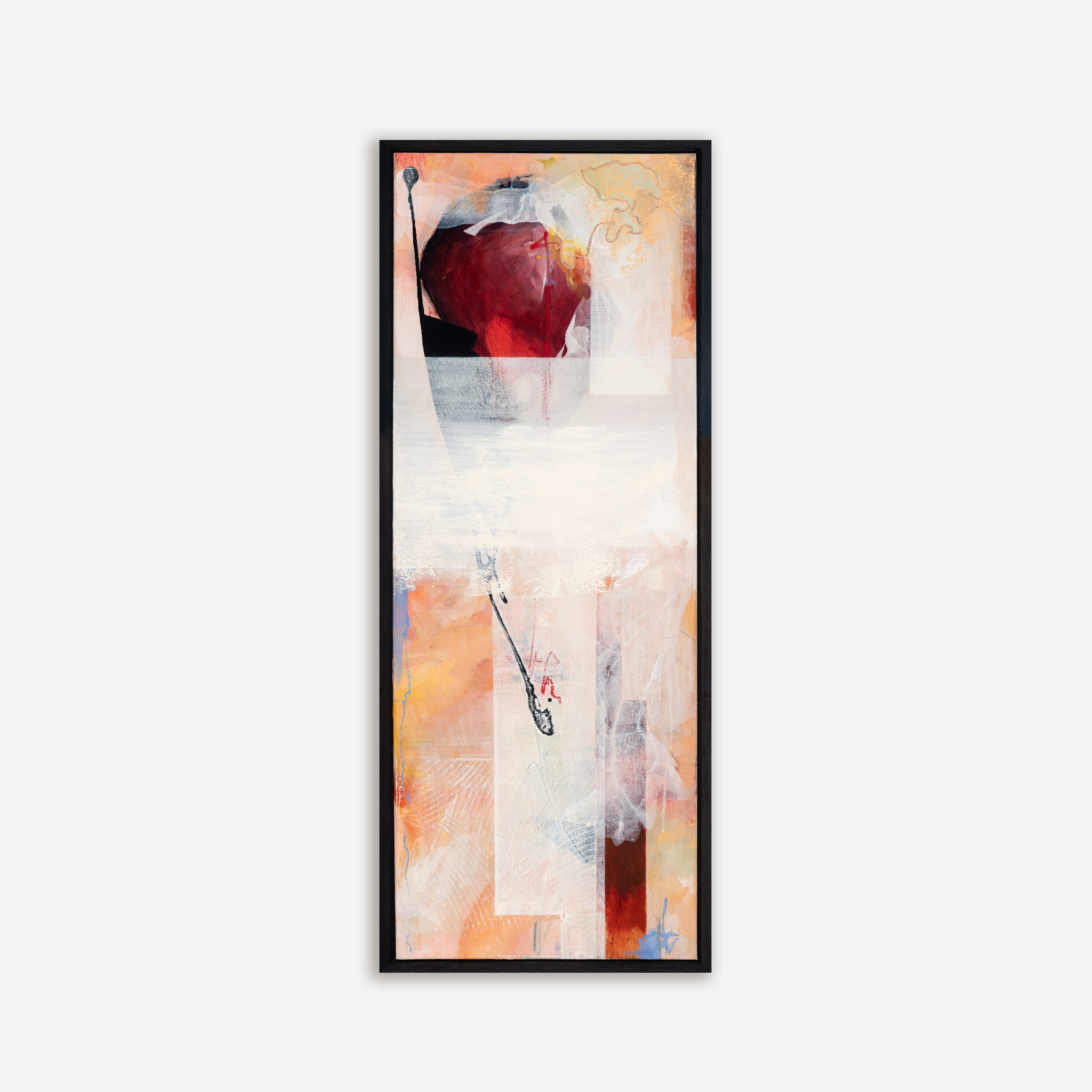 W45 x H120cm image size | acrylic mixed media on canvas in open grain, charcoal floating frame