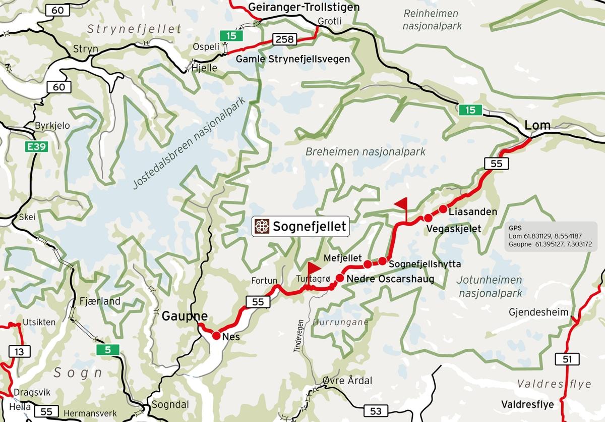 Kart over Sognefjellsveien lånt fra www.nasjonaleuristveger.no