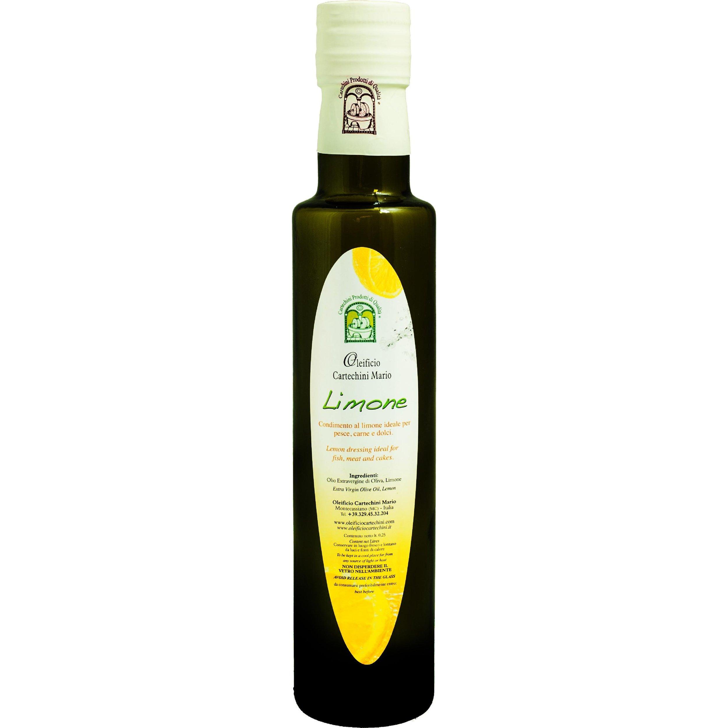 OLIO EVO AROMATIZZATO AL LIMONE - Per aromatizzare in maniera naturale, salutare e originale i tuoi piatti, scopri lo sfizioso Olio Extravergine d'Oliva aromatizzato al Limone.Nessun aroma chimico, SOLO AROMI NATURALI E FRUTTA BIO spremuti meccanicamente a freddo insieme alle olive, per un pieno di salute e sapore. I limoni provengono da coltivazioni biologiche della Sicilia.CARATTERISTICHE DEL PRODOTTOPeriodo di raccolta: da Fine NovembreMetodo di Lavorazione: Estrazione meccanica di olive insieme a Limoni (di sicilia non trattati) senza processi di raffinazioneConservazione: In serbatoi a Temperatura controllata tra 15°C e 18°CCultivar: Bland di Frantoio, Orbetana, Mignola, Raggia, CoroncinaAspetto: colore Verde chiaro tendente al giallo paglierinoFruttato: Medio-LeggeroGusto: di Limone, pratico, fresco e delicato
