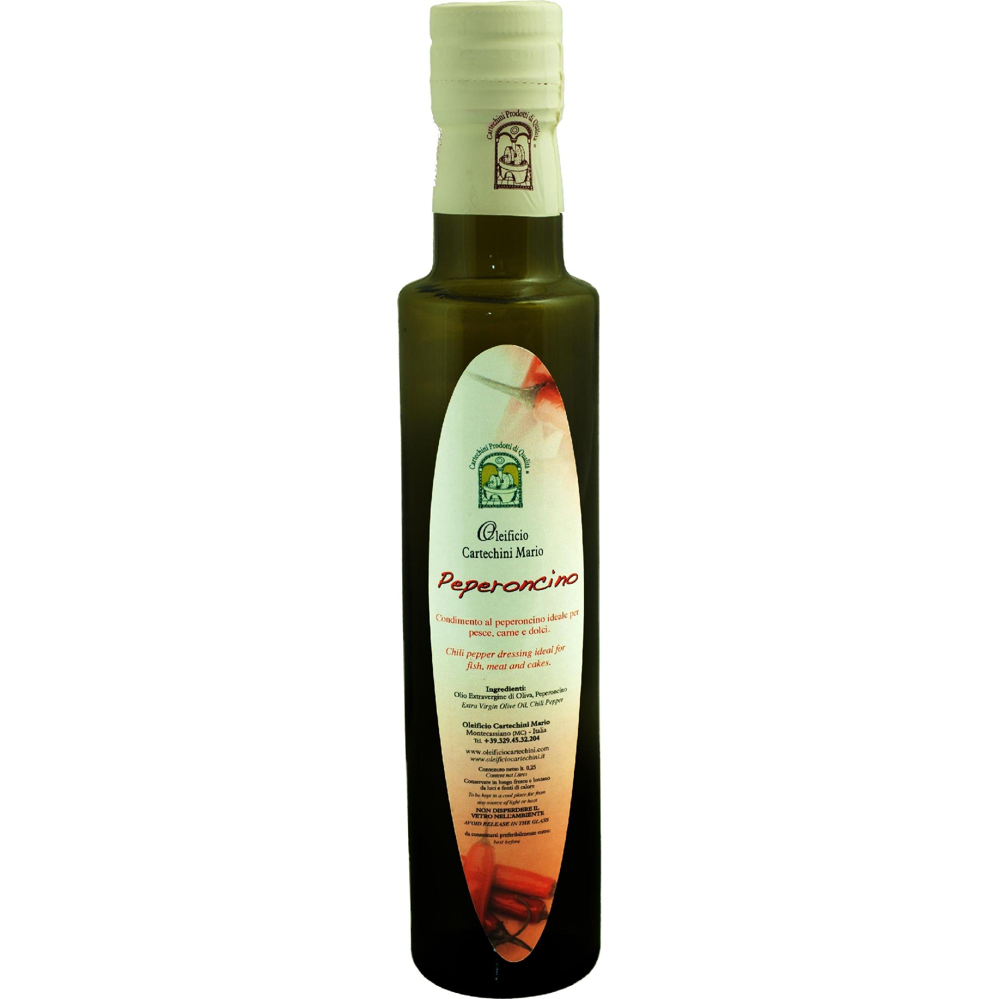 OLIO EVO AL PEPERONCINO - Per aromatizzare in maniera naturale, salutare e originale i tuoi piatti, scopri lo sfizioso Olio Extravergine d'Oliva aromatizzato al Peperoncino.Nessun aroma chimico, SOLO AROMI NATURALI E FRUTTA BIO spremuti meccanicamente a freddo insieme alle olive, per un pieno di salute e sapore. I Peperoncini provengono direttamente dall' Orto della Nonna.CARATTERISTICHE DEL PRODOTTOPeriodo di raccolta: da Fine NovembreMetodo di Lavorazione: Estrazione meccanica di olive insieme a Limoni (di sicilia non trattati) senza processi di raffinazioneConservazione: In serbatoi a Temperatura controllata tra 15°C e 18°CCultivar: Blend di Frantoio, Orbetana, Mignola, Raggia, CoroncinaAspetto: colore leggermente rossastroFruttato: Medio-LeggeroGusto: di Peperoncino,vero concentrato di piccantezza