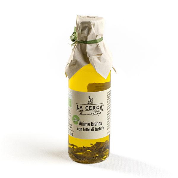 ANIMA BIANCA CON FETTE DI TARTUFO - Ingredienti: Olio extravergine di oliva*, fette di tartufo bianco pregiato disidratato (Tuber magnatum pico)* 0,35%, aroma naturale*. * da agricoltura biologica ITALIANA.Peso netto: 100 ml.Scadenza e modalità di conservazione: 18 mesi dalla data di imbottigliamento.Confezioni: bottiglia di vetro.Uso Consigliato: Molto versatile, arricchisce qualsiasi pietanza. Ideale per antipasti, primi piatti, secondi di carne o uova.100% TARTUFO ITALIANO, Regione Marche. Senza conservanti, additivi e coloranti; con aroma naturale BiologicoPRODOTTO ARTIGIANALE