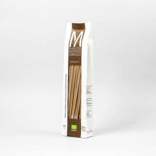 SPAGHETTI INTEGRALI - La nostra pasta è prodotta da grano duro prodotto direttamente dalla nostra azienda. Gli unici ingredienti sono la semola e l'acqua, trafiliamo la nostra pasta al bronzo e la lasciamo seccare ad una temperatura di 44°C, e la pasta lunga è lasciata asciugare per 40 ore. Gli Spaghetti Integrali hanno un diametro di 2.2 mm ed una lunghezza di 260mm. Il tempo di cottura ideale è tra i 8 e i 10 minuti.