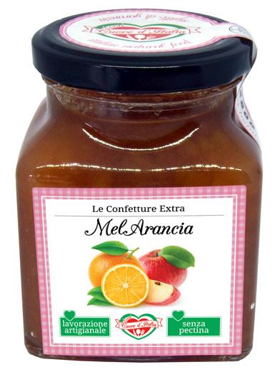 CONFETTURA DI MELARANCIA - Ingredienti: Mele 51,2%, Arance 21,4%, Zucchero, Buccia di Arancia, Succo di Limone.Frutta utilizzata 110g per 100g di prodotto finito.Senza l'aggiunta di coloranti ne conservanti. Senza pectina.