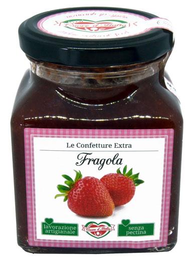 CONFETTURA DI FRAGOLA  - Ingredienti: Fragola 78%, Zucchero, Succo di Limone.Frutta utilizzata 150g per 100g di prodotto finito.Senza l'aggiunta di coloranti ne conservanti. Senza pectina.