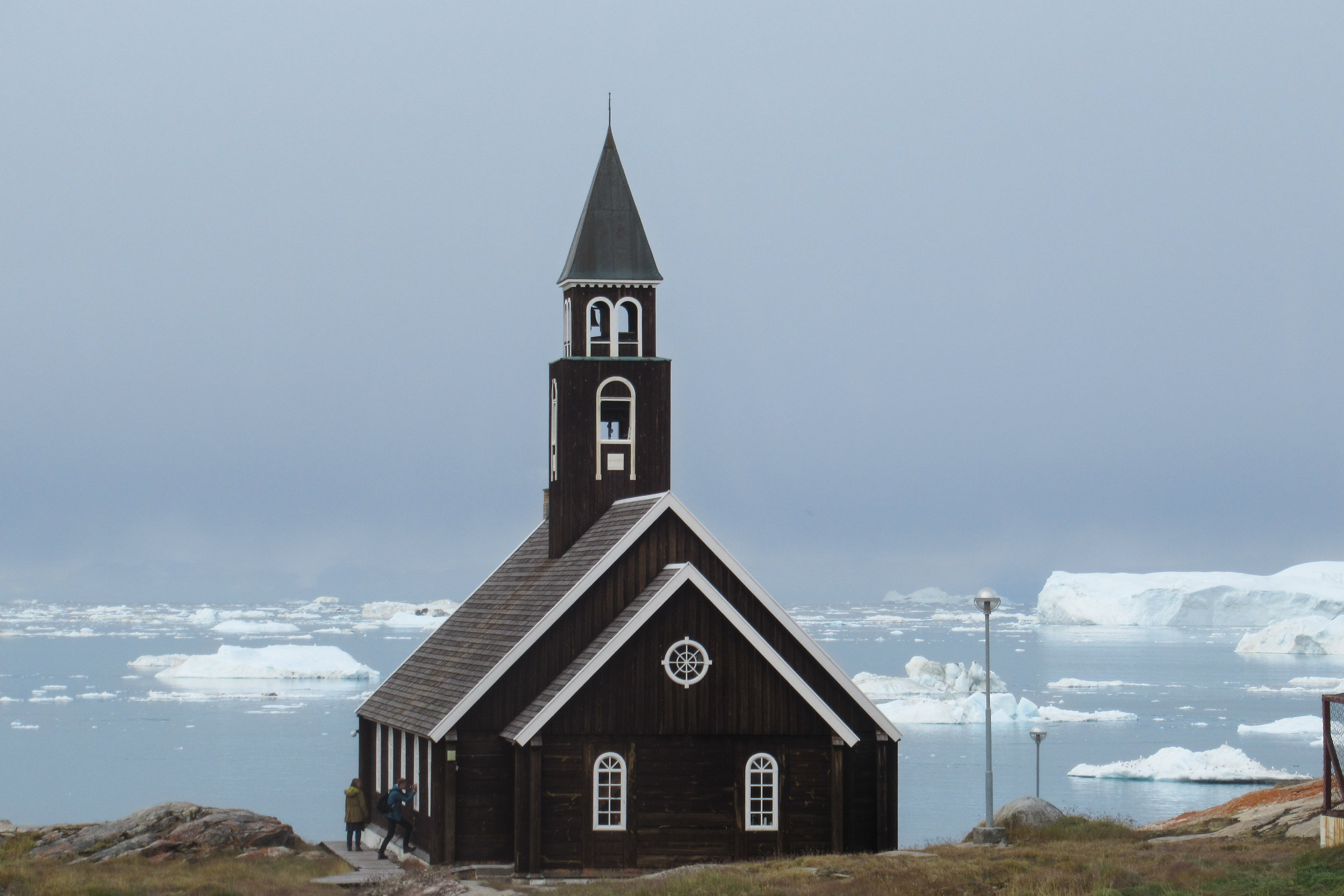 Church in Ilulissat and view to the sea