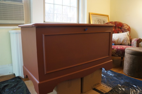 - there's no photographic evidence of the original, but here's evidence that I learned from experience, when I recently painted my older daughter's hope chest, in her living room, with pretty substantial prep of the area.And a brush.