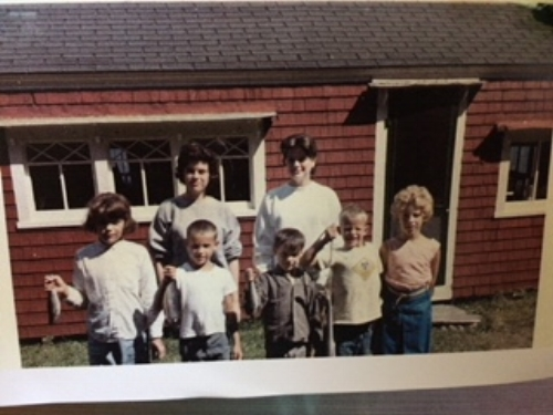 Flemming/Baines cousins at the cottage; 1960's (Helen, Liz, Meg, Christian, Bob, Jack, Jan)