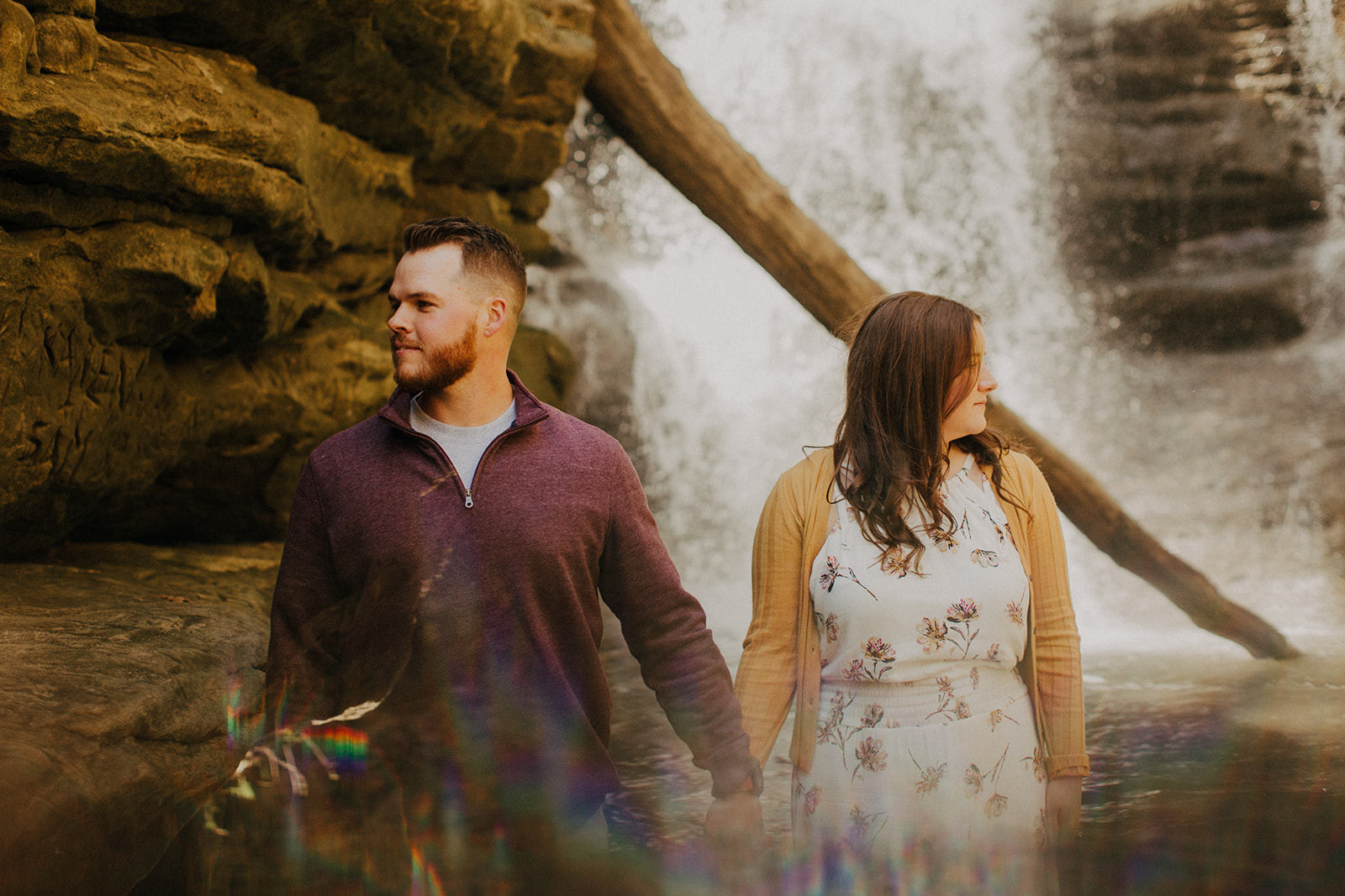 Lindsey & Brock's Waterfall Engagement - Matthiessen State Park, IL