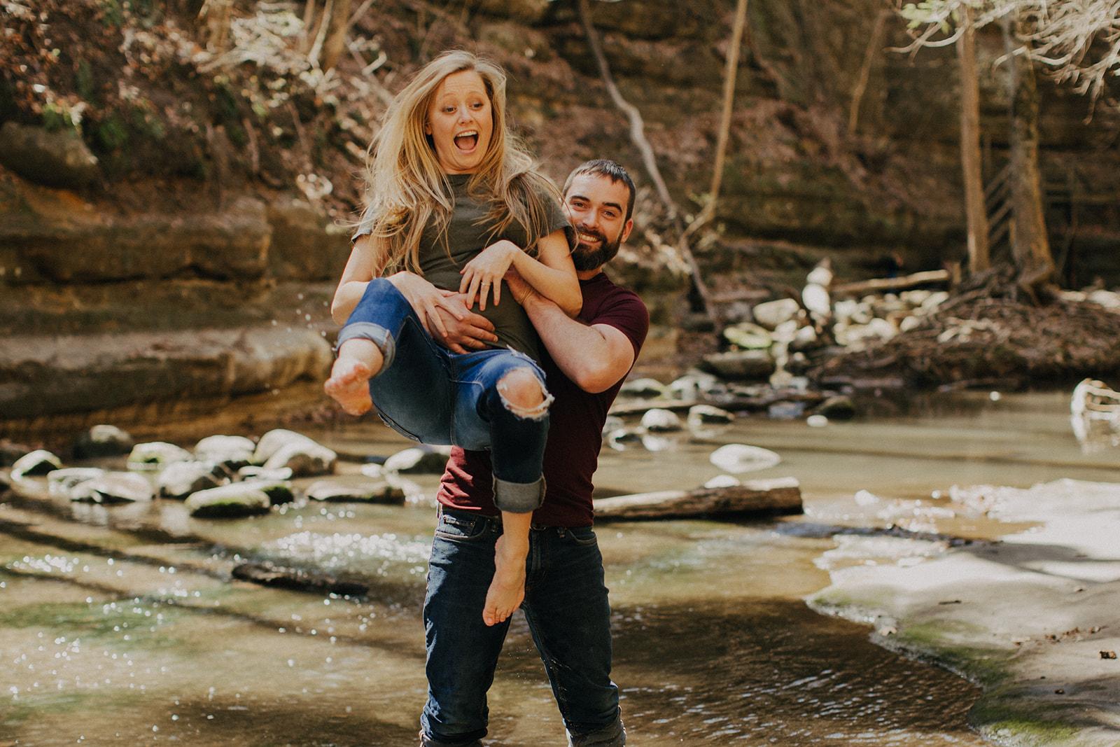 Courtney & Ryan's Creek Splashin' Engagement - Matthiessen State Park, IL