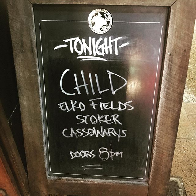 CROWBAR in Brisvegas tonight! Doors at 8pm  8:30 - CASSOWARYS 9:15 - STOKER 10:10 - ELKO FIELDS 11:00 - CHILD  #elkofields #stokertheband #cassowarysband #marshall #younghenrys #123agency #crowbarbrisbane