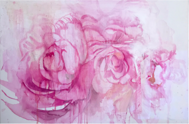 """""""My destiny is in your hand (Camillia)"""" by Sirikul Pattachote , 2018 Watercolor and hand sewn paper on canvas, 24″ x 36″"""