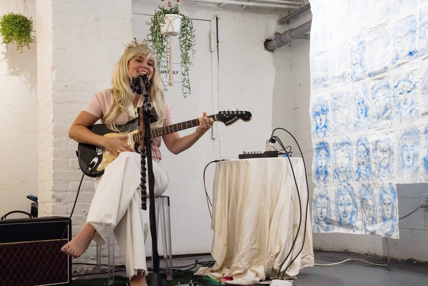 Courtney McKenna performing 'Sanctuary' at AG Gallery for 'Flower Offerings' on 9/9/18.