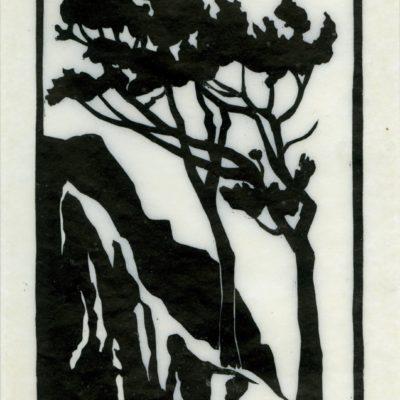 Everett Ruess, Sentinels of the Wild, Linoleum block print, ca. 1930s, 2003.5.1