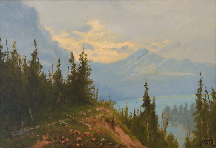 Blue Lake (Glacier Park), oil on canvas by John Fery, Wildling Museum Collection