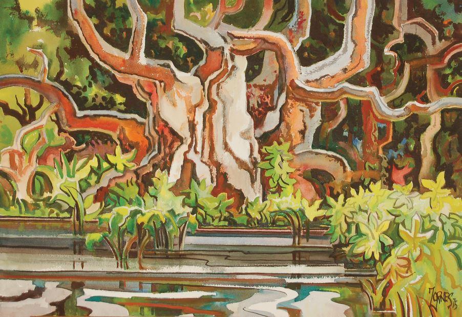 Milford Zornes, Morton Day [sic] Fig Tree, 1975, Mason Molki Gallery