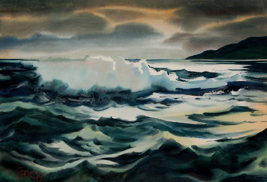 Milford Zornes, High Seas, 1969, Donna Vasseghi Collection
