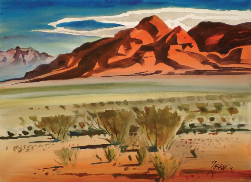 Milford Zornes, Morning, High Desert, 1990, McClelland Collection