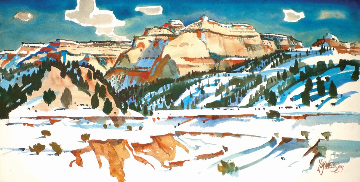 Detail: Milford Zornes, Carmel Cliffs, 1989, McClelland Collection
