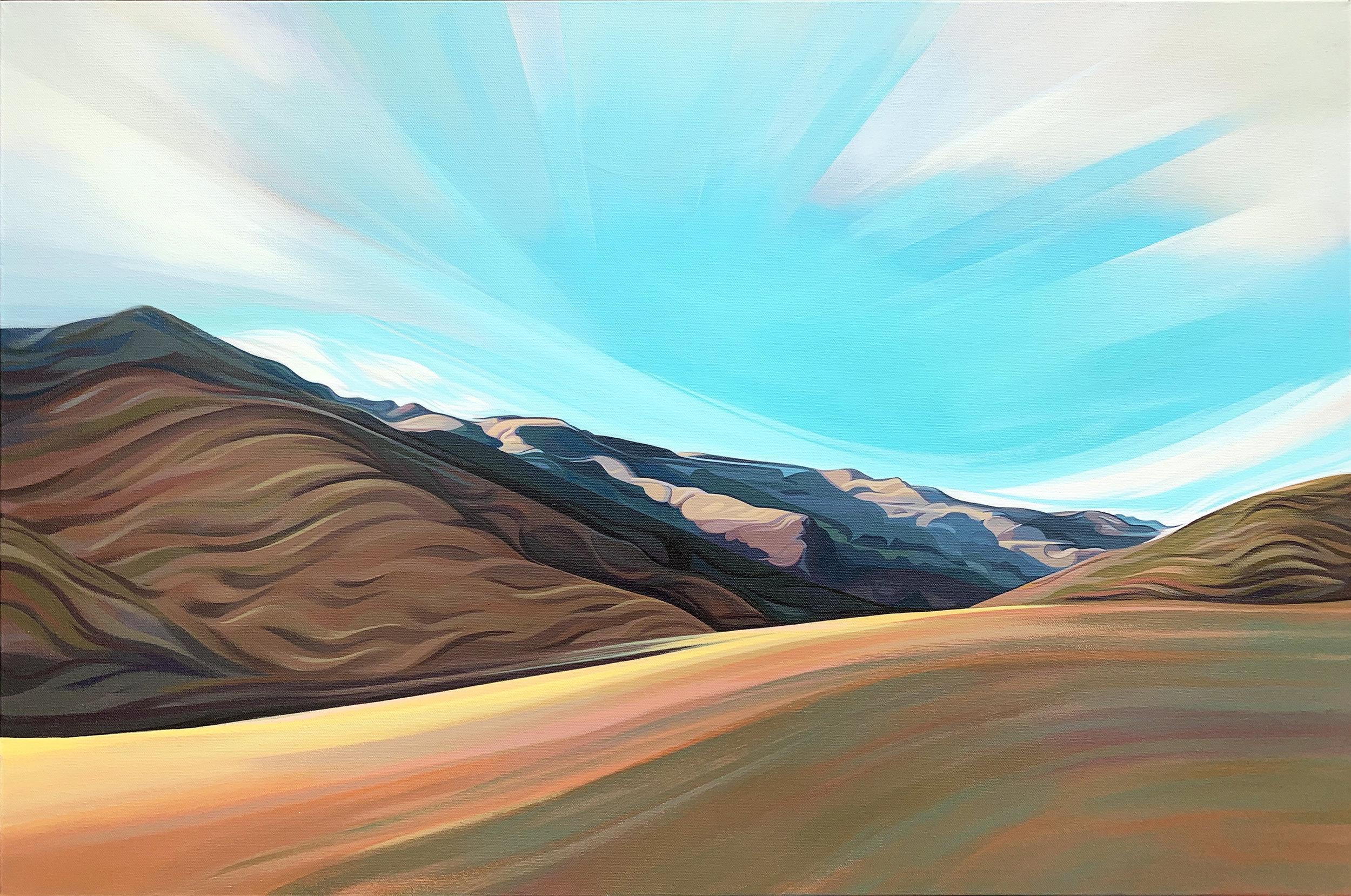 Nancy Yaki,  Santa Monica Mountains , Acrylic on canvas, 2019