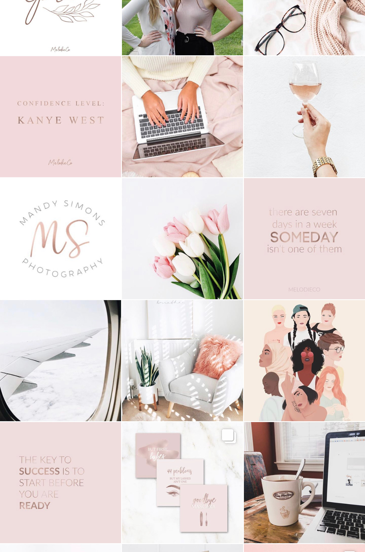 MelodieCo Instagram, Rose Gold/Pink Theme