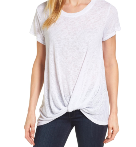 1. Twist Hem White T-Shirt -