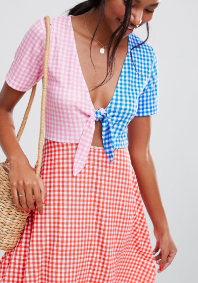 Tri-Colored Gingham Skater Dress -