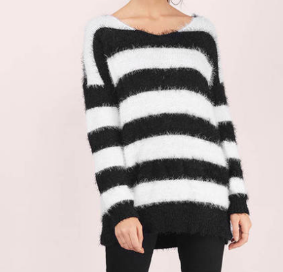 1. Black and White Striped Sweater -