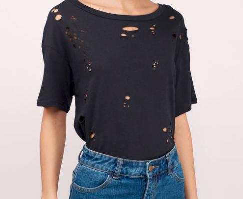 Distressed, black t-shirt -