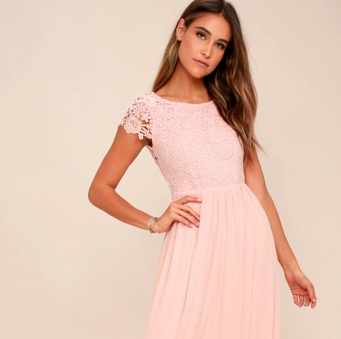 Formal Dress - Soft pink Venetian lace for magical evening vibes.