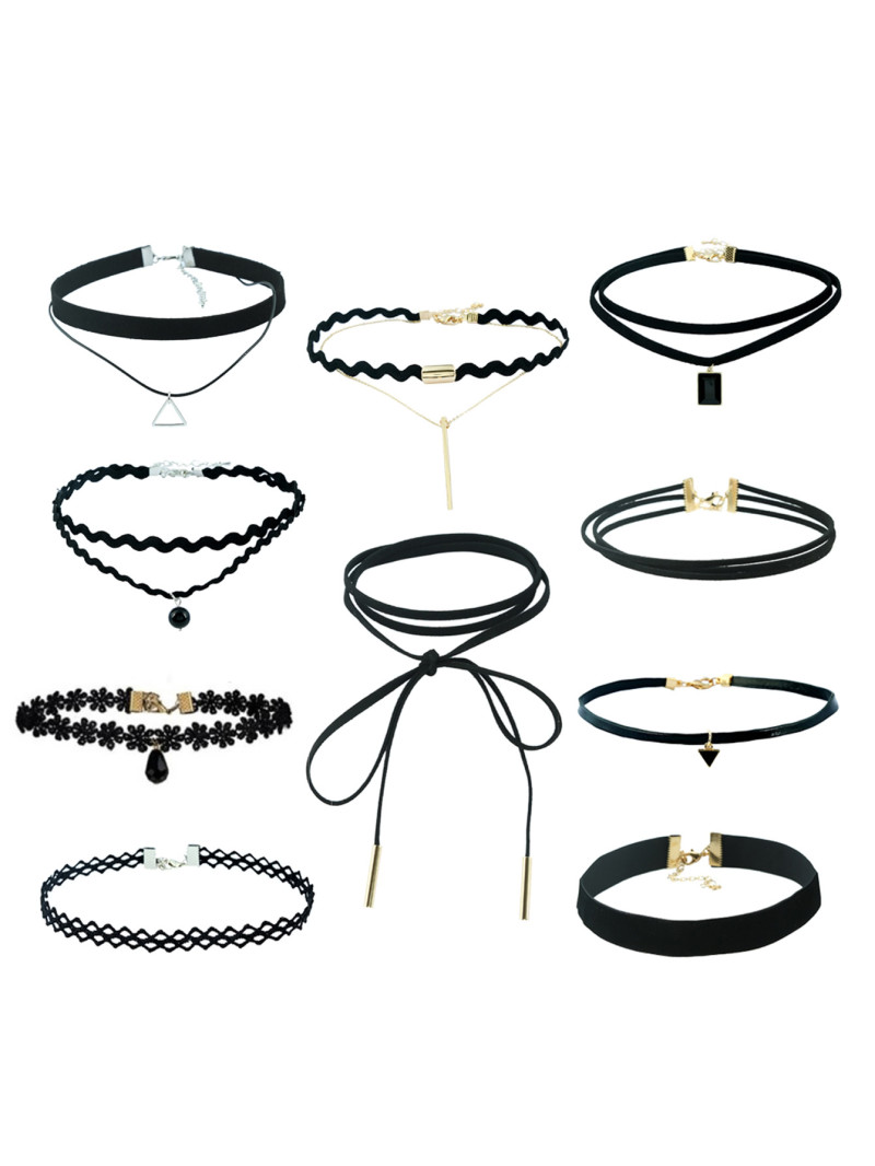 Set of Black Chokers - A B needs to be wearing a choker at all times. In the tragic event something were to happen to Beatrice's, she carries a set of backups.