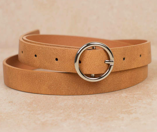 Brown Belt - A suede belt adds a touch of sophistication to the outfit.