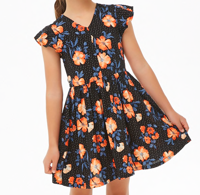 Fit and Flare Floral Dress - Bright orange flowers against a dark backdrop create a fun fall aesthetic.
