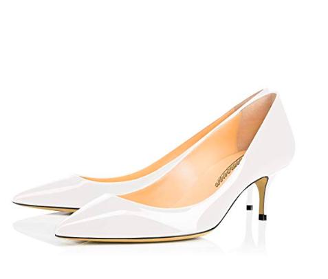 White kitten heels -