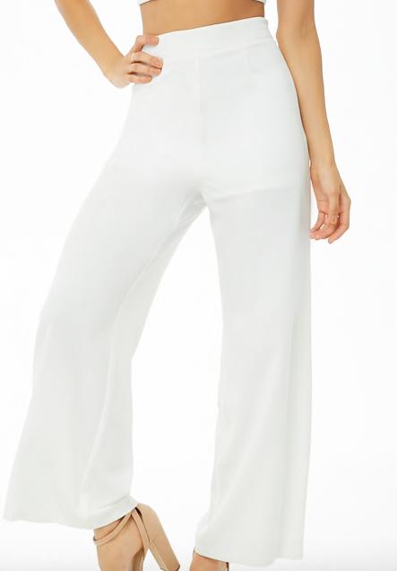 White high-waisted pants -