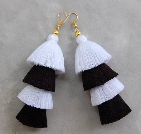 Black and white tassel earrings -